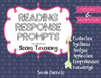 Reading Response Prompts by Bloom's Taxonomy (Fiction and
