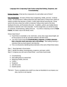 Fiction-Composing Flash Fiction using Real Setting, Suspense, and Foreshadowing