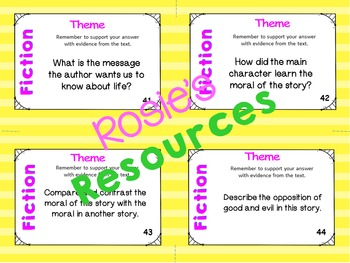 Comprehension Questions for Fiction - 60 Critical Thinking Cards