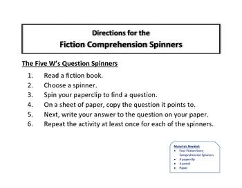 Fiction Comprehension Spinner Set