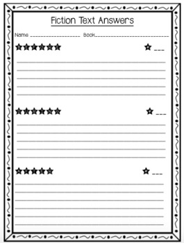 Fiction Comprehension Task Cards and Answer Sheet