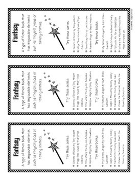 Fiction Genre Bookmarks