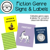 Library Signage: Fiction Genre Signs & Labels [Editable!]