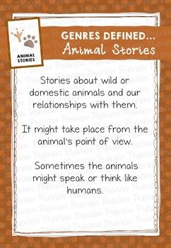 Fiction Genre Poster: Genres Defined, Animal Stories