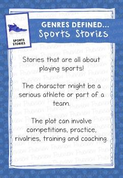 Fiction Genre Poster: Genres Defined, Sports Stories