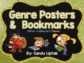 Fiction Genre Posters (Glitter Chalkboard)
