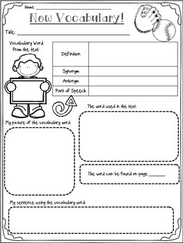 Fiction Graphic Organizers with Interactive Notebook Pages (Baseball Themed)