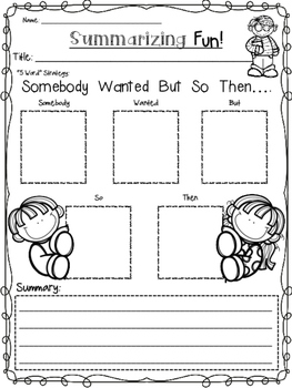 Fiction Graphic Organizers with Interactive Notebook Pages (Cute Kid Themed)