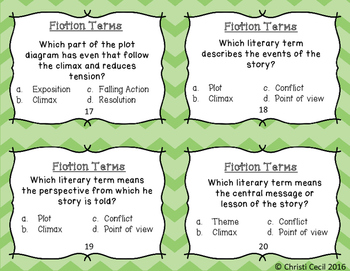 Fiction Literary Terms - Task Cards