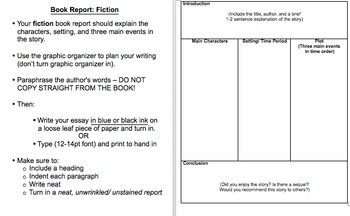 Fiction & Non Fiction Book Report Directions/ Graphic Organizers/Grading Rubric