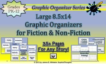 Fiction Non-Fiction Graphic Organizers Large 8.5x14 Legal Size Common Core