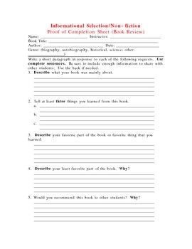 Fiction & Non-fiction Selection Review Sheets