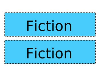 Fiction Nonfiction Book Tub Signs
