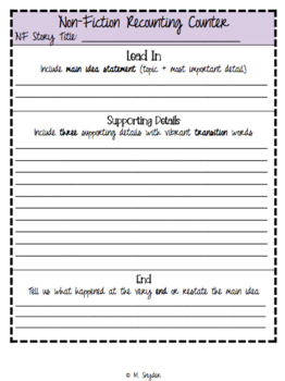 Fiction & Nonfiction Recounting Organizers/Journal Inserts