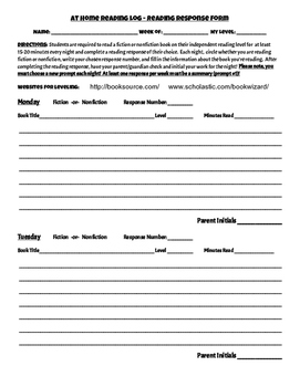 Fiction OR Nonfiction Reading and Response Log