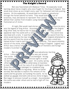 Fiction Passage & Comprehension Questions: The Knight's Sword