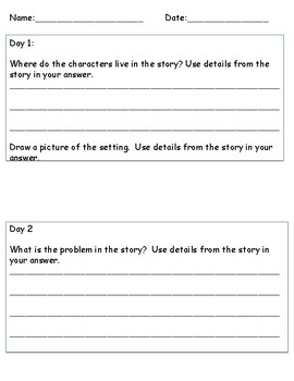 Reader's Response Daily Practice  TRC Question Stems F-L