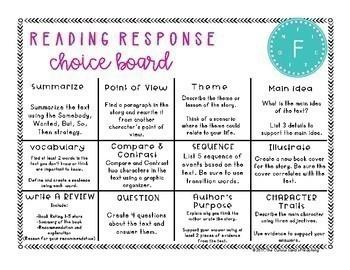 Reading Choice Boards: Fiction