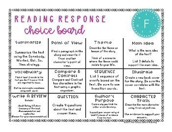 Reading Choice Boards: Fiction