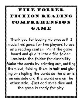 Fiction Reading Comprehension File Folder Game
