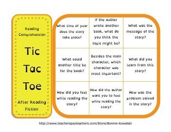 Fiction Reading Comprehension Prompts - Tic Tac Toe Games