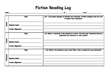 Fiction Reading Log