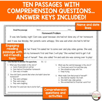 Fiction Reading Passages and Questions for Assessment CCSS RL.1.2