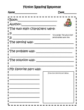 Reading Response Pages - Fiction and Nonfiction