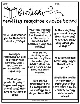 Fiction Reading Response Choice Board by The Meaningful ...