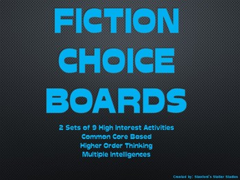 Reading Choice Boards Fiction Menu Book Novel Study Projec