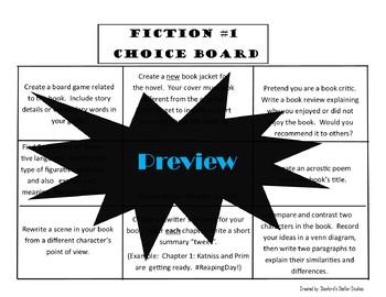 Reading Choice Boards Fiction Menu Book Novel Study Project Tic Tac Toe