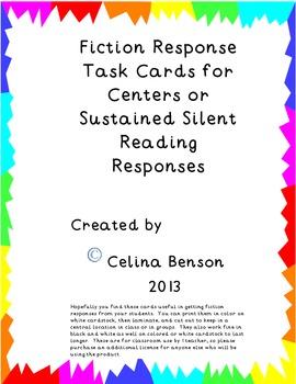 Fiction Reading Response Task Cards PDF
