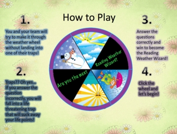 Fiction Reading Skills Powerpoint Game - Weather Wheel
