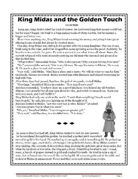 """Fiction Reading Skills Practice:""""King Midas and the Golden Touch"""""""