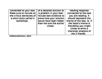 Fiction Response Choice Board