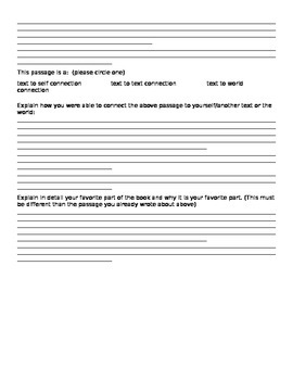 Fiction Response Sheet (Literature Log) for Common Core Standards