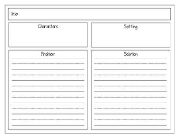 Fiction Retelling Graphic Organizer - Problem, Solution, Lesson Learned