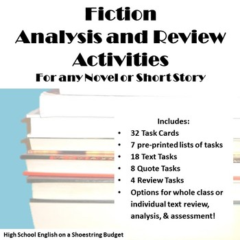 Fiction Review Task Cards, for Any Novel or Short Story