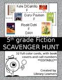 Reading Fiction Scavenger Hunt Fifth Grade Editable Version