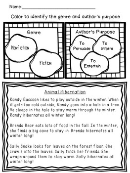 Shared Reading: Fiction Shared Reading Plans- Animal Hibernation-CCSS