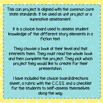 Fiction Story Elements Choice Board Project