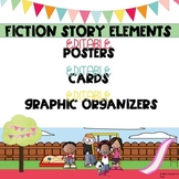 Fiction Story Elements  EDITABLE Posters, Cards and Graphic Organizers
