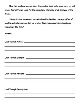 Fiction Story Leads Worksheet