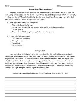 Fiction Summarizing Quick Quiz