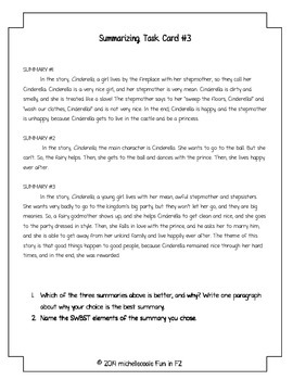 Fiction Summary Task Cards for Story Elements