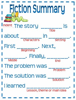 Fiction Summary Template Anchor Chart For Grades By Classroom - Fiction summary template