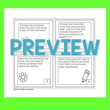 Fiction Task Cards