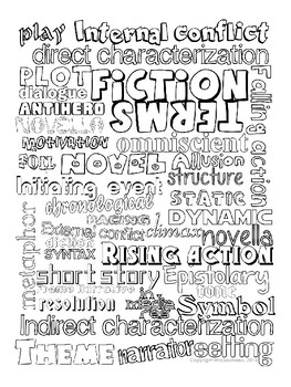 Fiction Terms Coloring Page