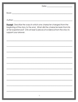 Fiction Text Dependent Reading Response Notebook : 40 Common Core Prompts