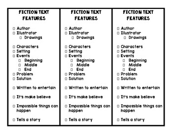 Fiction Text Features - Bookmarks/Checklist